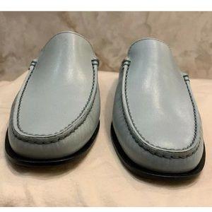 Tod's Anilux Light Blue Leather Slip-on Lofters